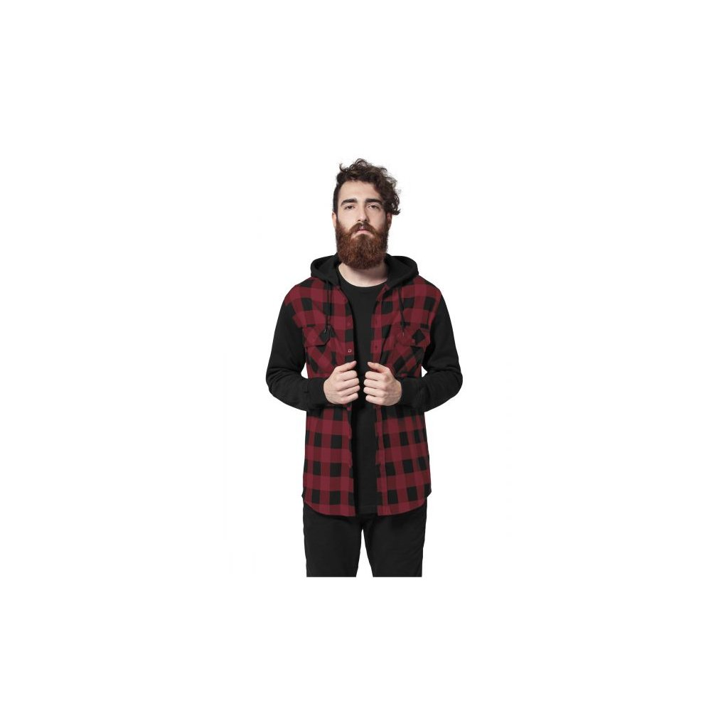 urban classics hooded checked flanell sweat sleeve shirt blkburg 30070.thumb 600x600