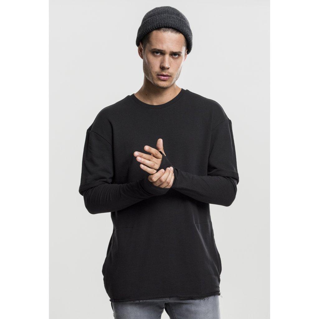 Pánske tričko s dlhým rukávom URBAN CLASSICS LONG 2 IN 1 TERRY CREW BLACK (Veľkosť XXL)
