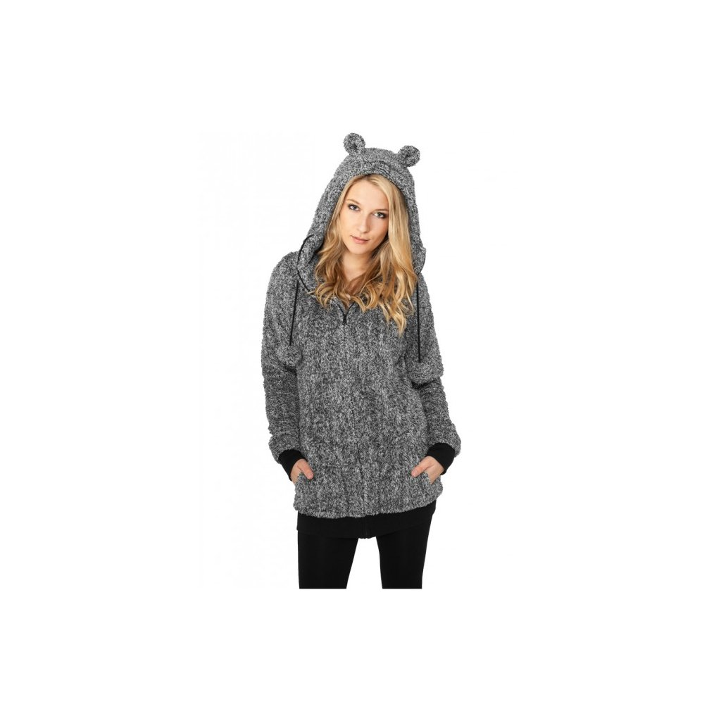 urban classics ladies melange teddy zip hoody blkwht 30255