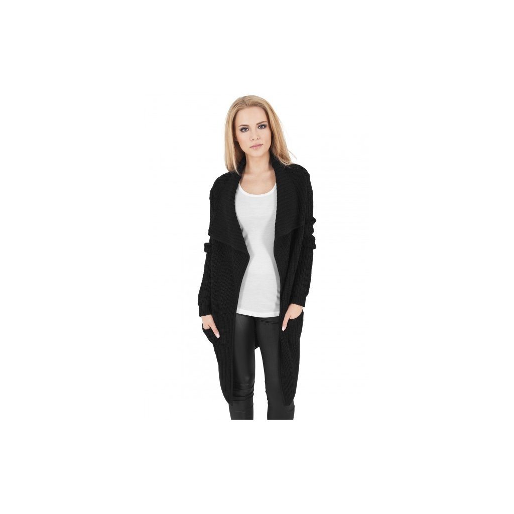 urban classics ladies knitted long cape black 28609