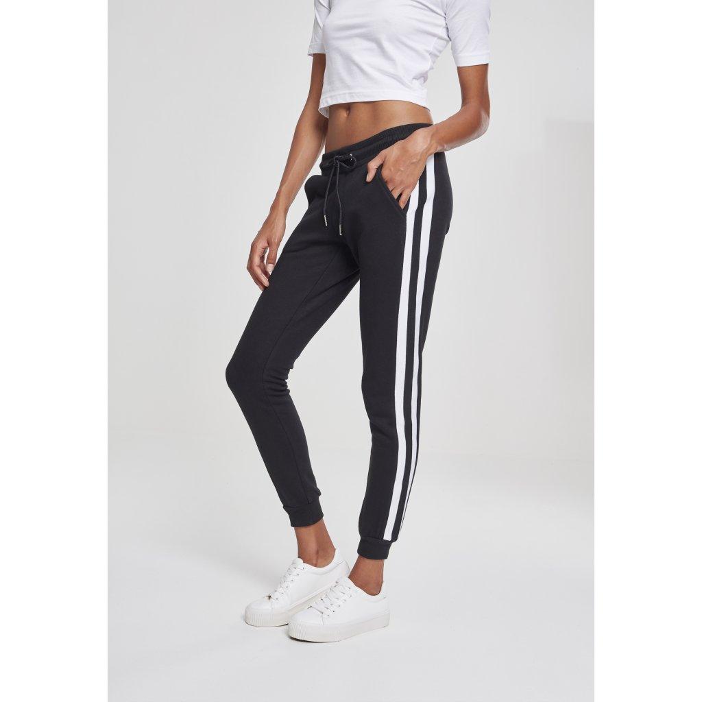 Dámske tepláky URBAN CLASSICS Ladies College Contrast Sweatpants black/white/black