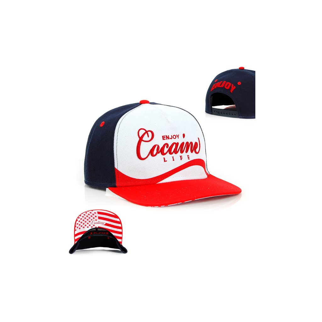 Snapback Cocaine Life Enjoy Cocaine Snapback Navy Red - UNI