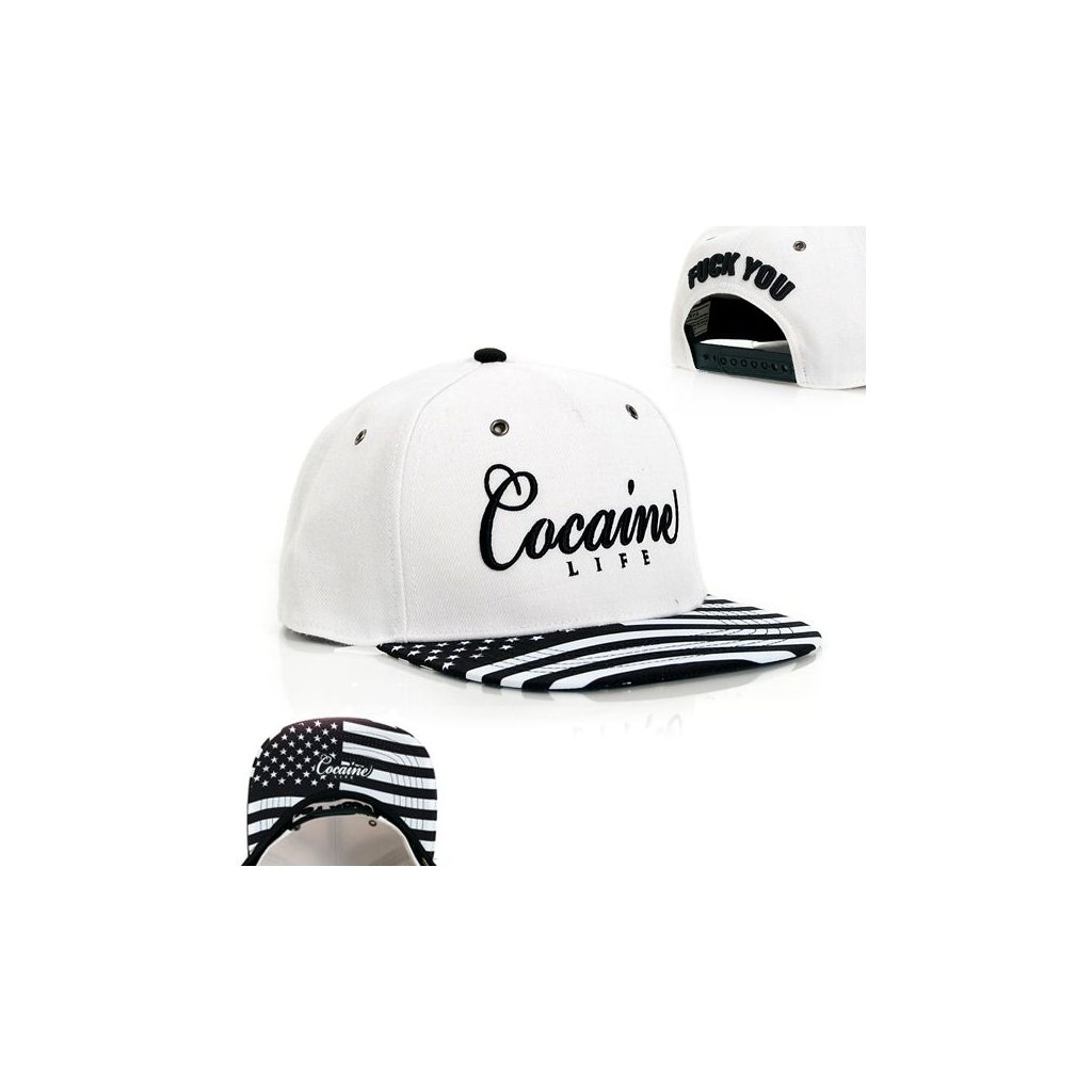 Snapback Cocaine Life Stars & Stripes White Black Snapback - UNI