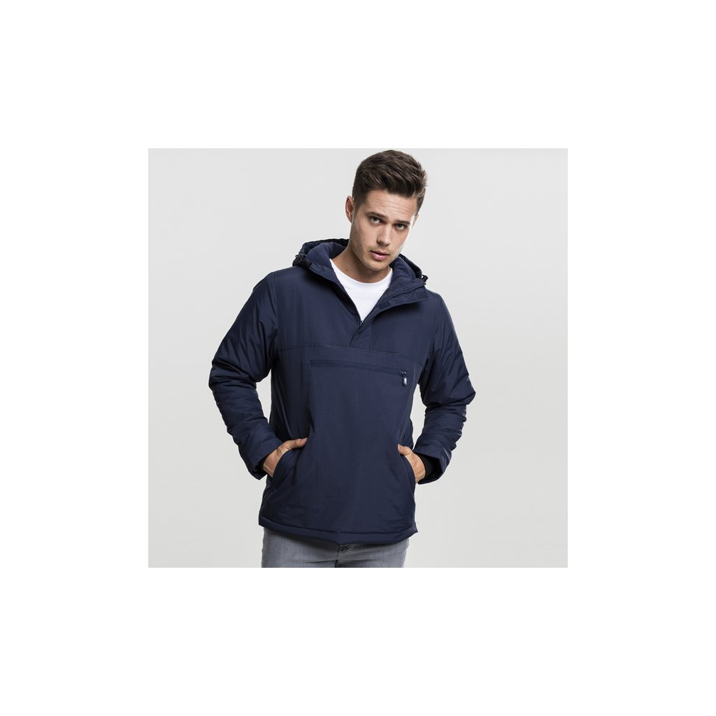 urban classics padded pull over jacket navy 47617