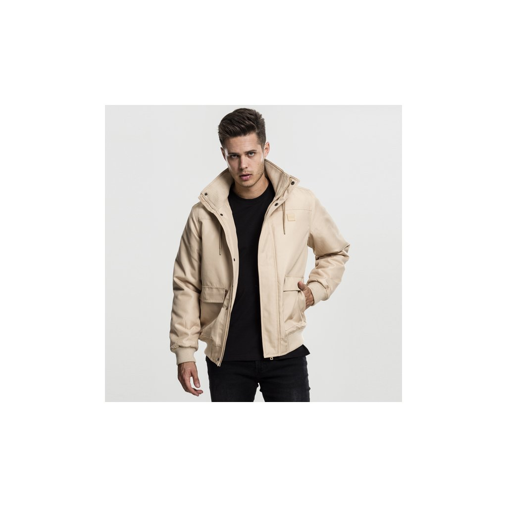 urban classics heavy hooded jacket beige 47823