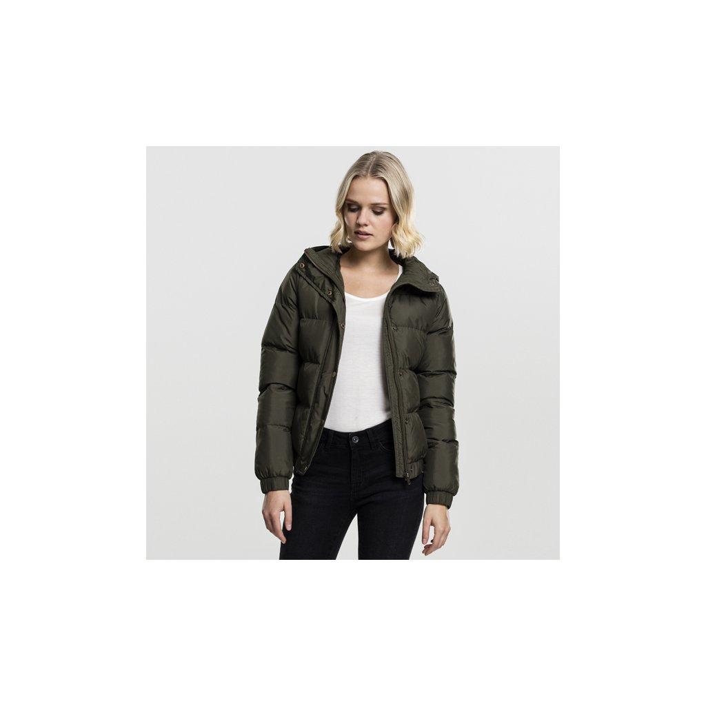urban classics ladies hooded puffer jacket darkolive 47209