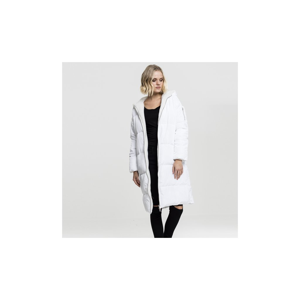 urban classics ladies oversized hooded puffer coat whiteoffwhite 47224
