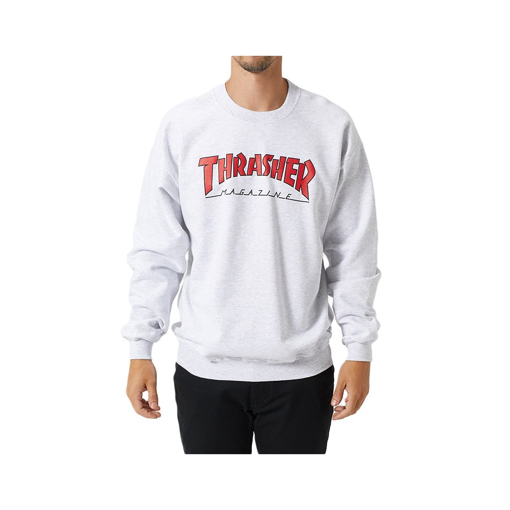 thrasher outlined crewneck sweater ash grey 1