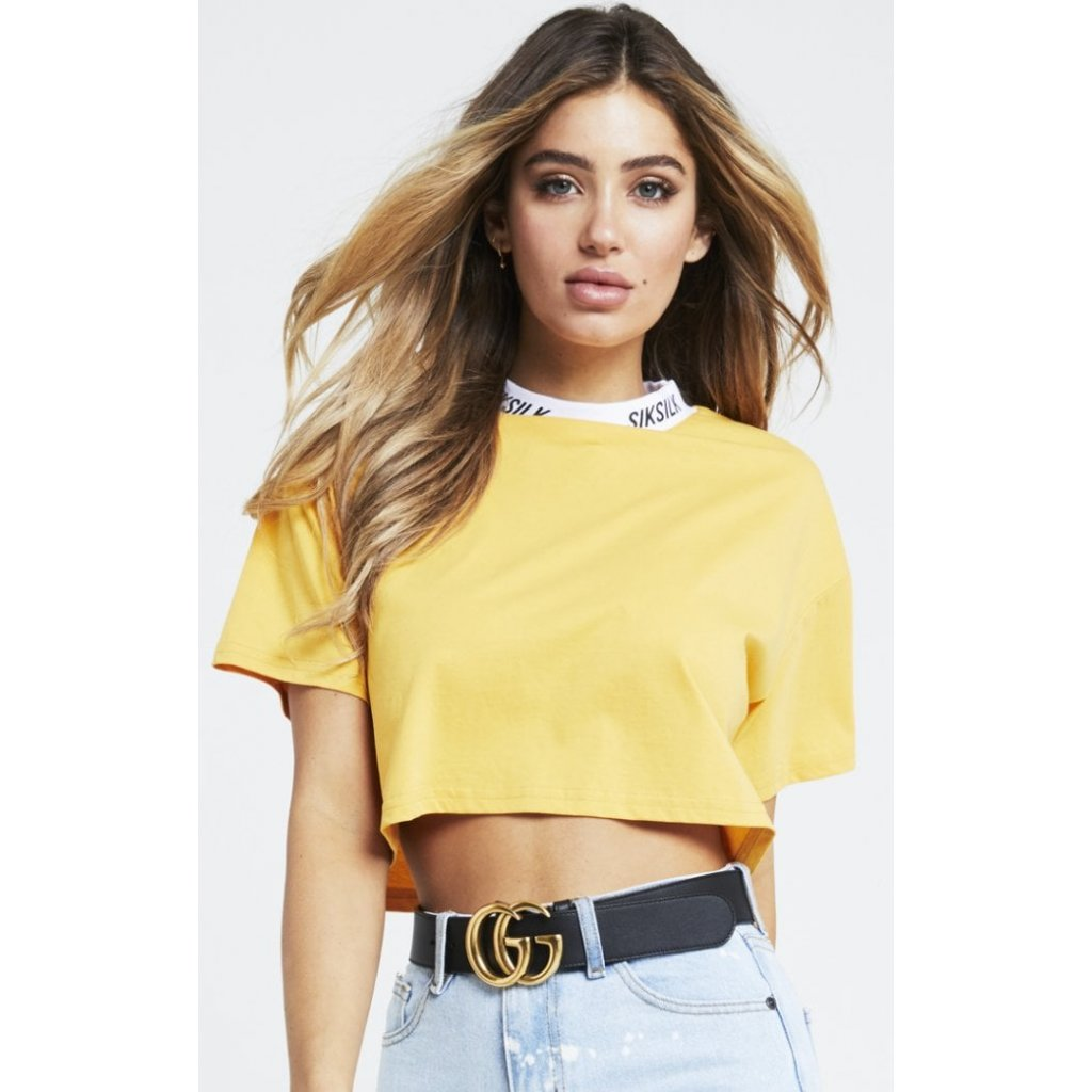 siksilk logo high neck crop tee mustard p2941 25743 medium