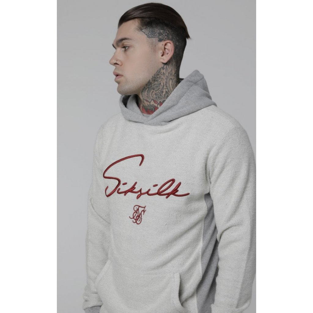 siksilk overhead heavy reverse hoodie grey marl p3028 24156 medium