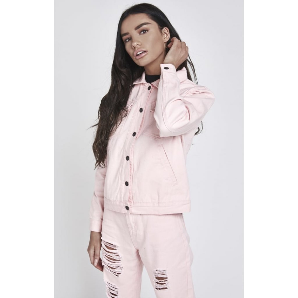 siksilk pink lady denim jacket pink p2058 18976 medium