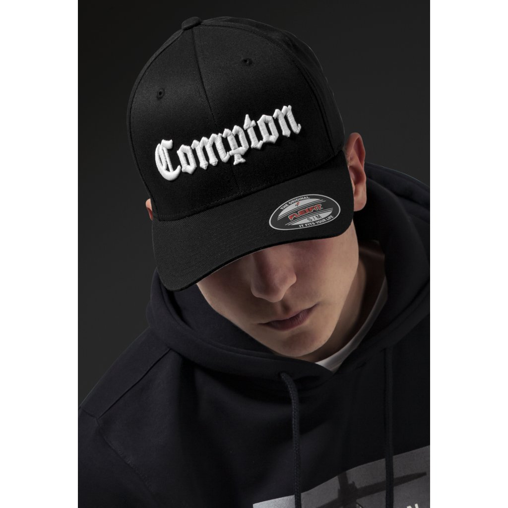 Šiltovka Mister Tee Compton Flexfit Cap blk/wht