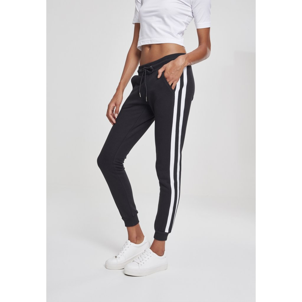 Dámske čierne tepláky URBAN CLASSICS Ladies College Contrast Sweatpants