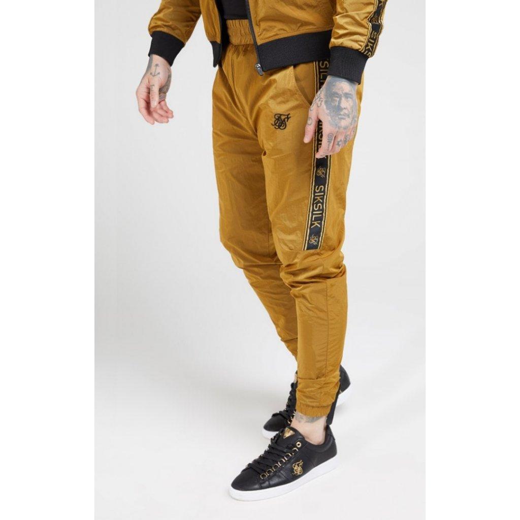 siksilk crushed nylon taped joggers golden mustard p4101 41779 medium