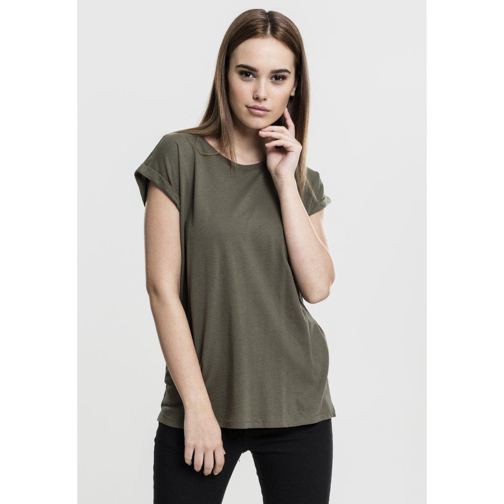 Dámske tričko s krátkym rukávom Urban Classics Ladies Extended Shoulder Tee olive (Veľkosť XS)