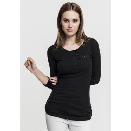 Dámske tričko Urban Classics Ladies Long Rib Pocket Turnup Tee čierne (Veľkosť XS)