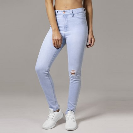 urban classics ladies high waist skinny denim pants lightblue 33101