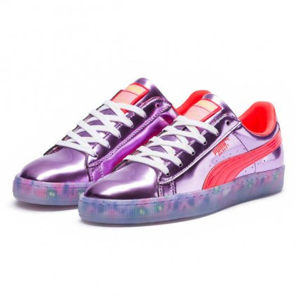 puma x sophia webster basket candy princess metallic pink fiery coral 55120