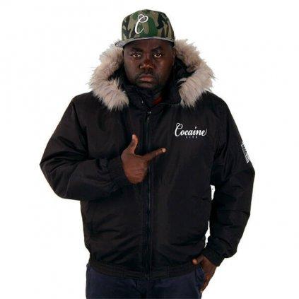 Pánska zimná bunda COCAINE LIFE BASIC LOGO WINTER JACKET BLACK (Veľkosť XL)