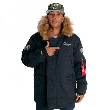 Pánska zimná bunda Cocaine Life Basic Parka Winter Jacket Black 2XL