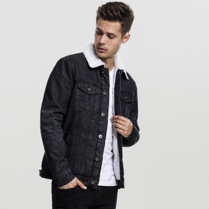 urban classics sherpa denim jacket black washed 47803