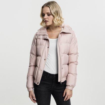 urban classics ladies hooded puffer jacket lightrose 47210