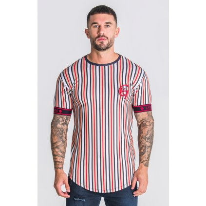 Pánske tričko GIANNI KAVANAGH Striped Tee With GK Red Elastic
