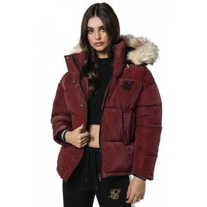 siksilk short parka jacket burgundy p3817 38934 medium