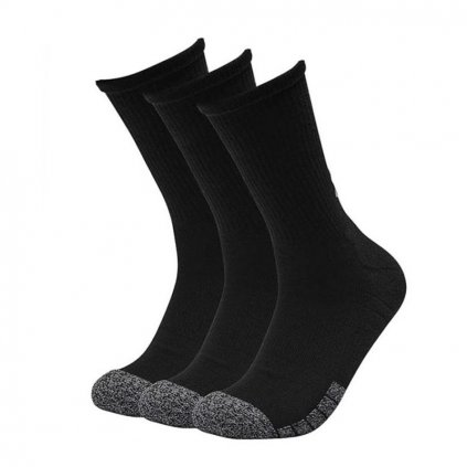 Ponožky Under Armour Heatgear Crew Black  Steel Sock 3-Pack