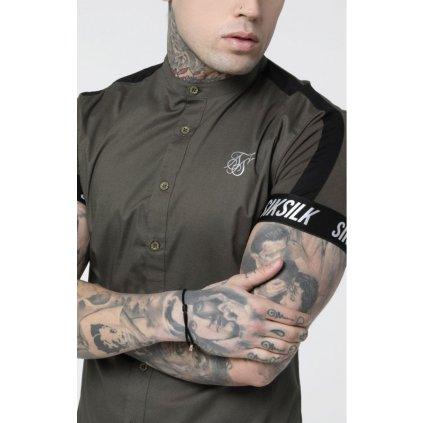 siksilk s s tech tape grandad shirt khaki p3742 32885 medium