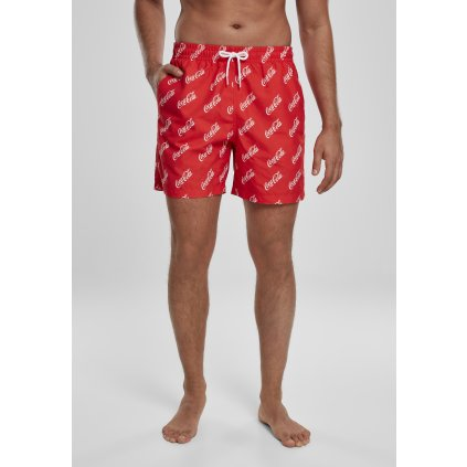 Pánske kúpacie kratasy MERCHCODE Coca Cola Logo AOP Swimshorts