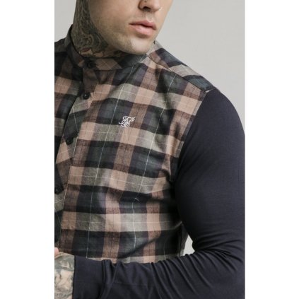 siksilk l s flannel check grandad shirt navy tan p4016 36021 medium