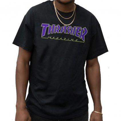 thrasher outlined t shirt black blue