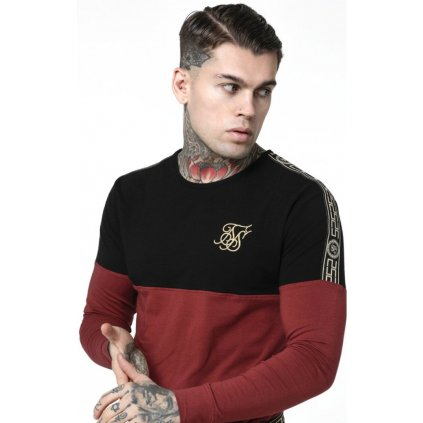 siksilk l s cartel cut sew half tape gym tee black red p3928 35151 medium