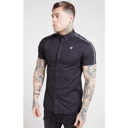 siksilk s s piped tape shirt black p4491 41850 medium