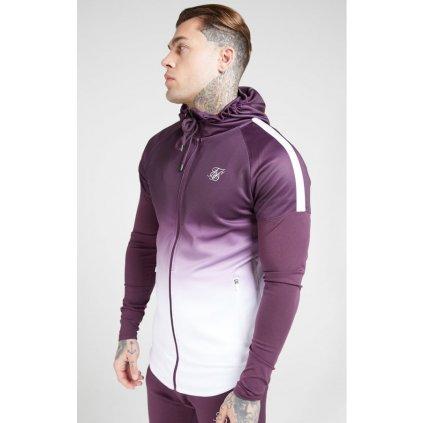 siksilk athlete hybrid zip through hoodie rich burgundy fade p4141 37076 medium