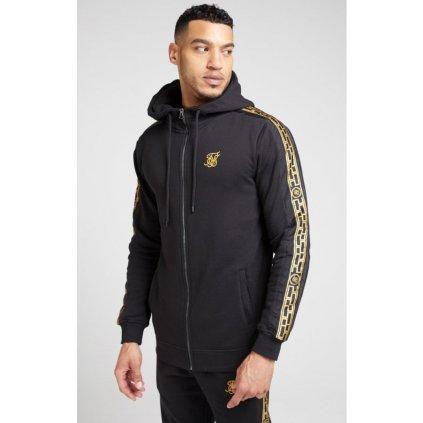 siksilk nylon panel zip through hoodie black gold p4134 44261 medium