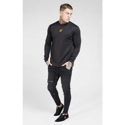 siksilk side zip crew sweat black oil paint p4083 36557 medium