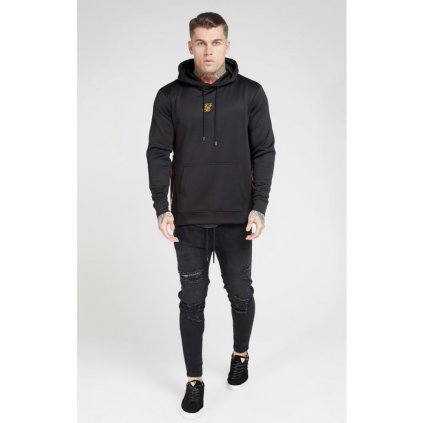 siksilk side zip tape hybrid hoodie black oil paint p4081 36545 medium