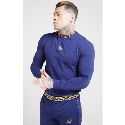 siksilk l s tape collar gym tee navy gold p4067 36435 medium