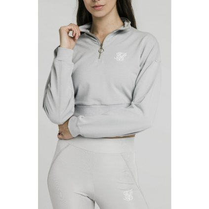 siksilk quarter zip crop sweat silver p4221 37955 medium