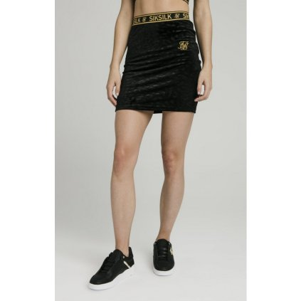 siksillk debossed velour skirt black p4230 37912 medium