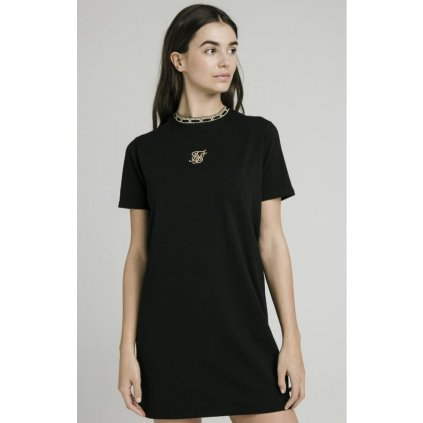 siksilk tape collar t shirt dress black p4051 38360 medium