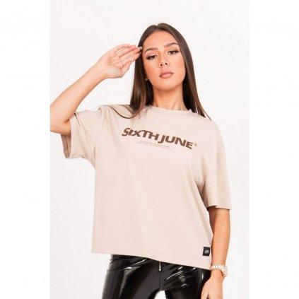 Dámske béžové tričko SIXTH JUNE Printed - S