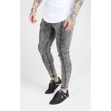 siksilk pleated drop crotch denims snow wash p4603 42783 medium