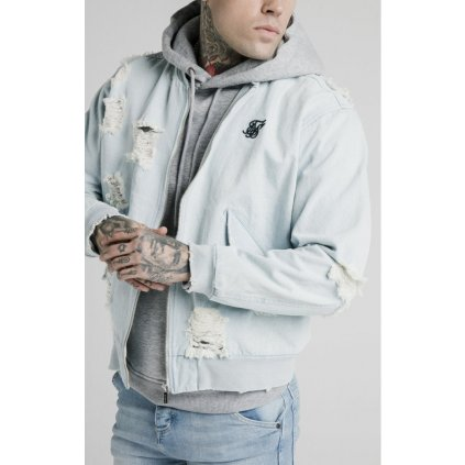 siksilk distressed denim bomber jacket light blue p5238 50742 medium