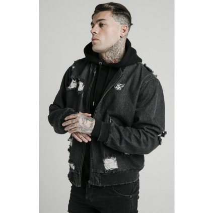 siksilk distressed denim bomber jacket washed black p5239 50754 medium
