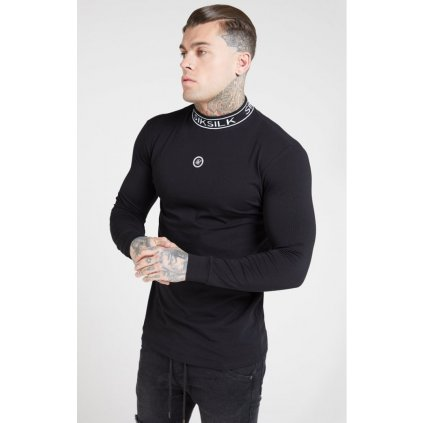 siksilk l s branded high collar tee black p4488 41823 medium