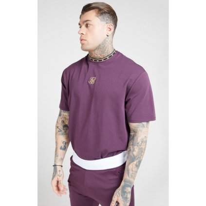 siksilk tape collar essential tee burgundy gold p4143 37096 medium