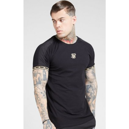 siksilk s s raglan straight hem tape gym tee black gold p4137 44244 medium